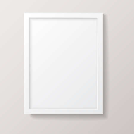 white frame: Realistic Empty White Picture Frame - Realistic empty white picture frame, isolated on a neutral gray background.