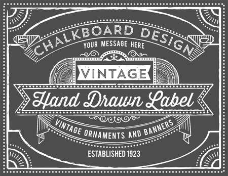 Vintage Chalkboard Background  - Vintage chalkboard background with retro elements.  Each object is grouped and colors are global for easy editing.  Texture can be removed.