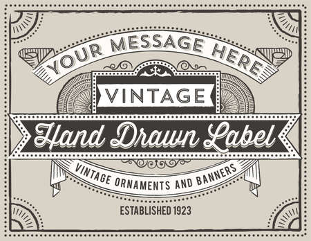 rule line: Vintage Label Design - Retro label design with vintage elements.  Each object is grouped and colors are global for easy editing.