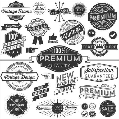 copyspace: Vintage Copyspace Design Elements - Set of vintage frames, banners, labels and ornaments. Each design is grouped and colors are global for easy editing. Illustration