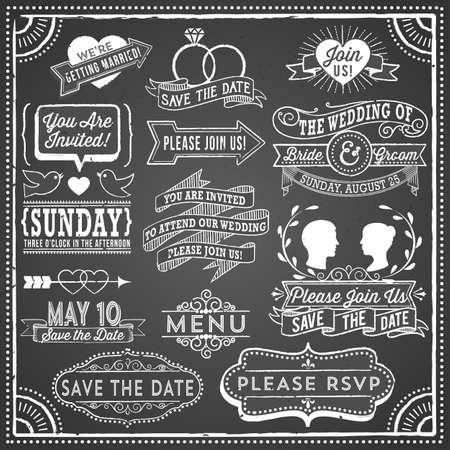 Krijtbord Uitnodiging Elements Wedding - Retro en met de hand getekende vintage krijtbord uitnodiging elementen. Bestand is gelaagd, elk object is gegroepeerd afzonderlijk en kleuren zijn globaal voor het gemakkelijke uitgeven. Textuur kan worden verwijderd. Vector Illustratie