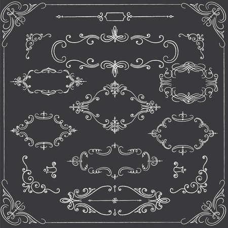 黒板フレーム - 華やかなチョークのフレームを設定します。  イラスト・ベクター素材