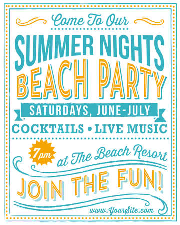 retro party: Vintage Beach Party Poster - Retro and hand-drawn vintage poster design