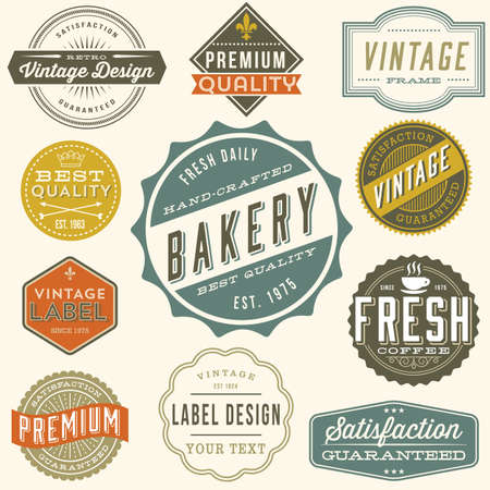 rule line: Vintage Label Design - Set of colorful vintage labels and design elements. Each design is grouped and colors are global for easy editing.?