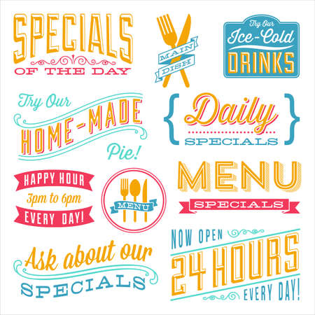 dingbat: Vintage Menu Designs - Set of vintage frames and label designs. Each element is grouped and colors are global for easy editing.  ?