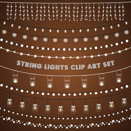 string: Rustic String Lights Set - Set of glowing string lights on a rustic brown background.