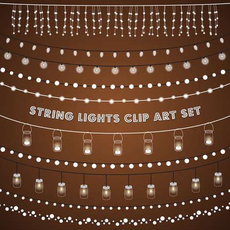 Rustieke String Lights Set - Set van gloeiende lichtslingers op een rustieke bruine achtergrond.