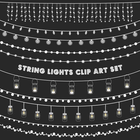 background lights: Chalkboard String Lights Set - Set of glowing string lights on a chalkboard grey background