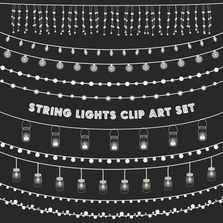 light: Pizarra luces de cadena Set - Juego de luces de cadena brillantes sobre un fondo gris pizarra Vectores