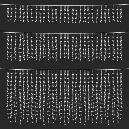 칠판 교수형 문자열 조명 세트 - 칠판 스타일 회색 배경에 교수형 문자열 조명의 집합입니다.