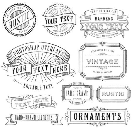 Rustic Frames Set - Rustic vintage frames and banners set