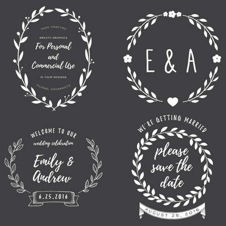 Chalk Wreath Set - Chalkboard Wreath elements for your text
