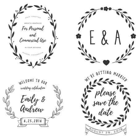 Wreath Set - Rustic Wreath elements for your text Banco de Imagens - 57877978