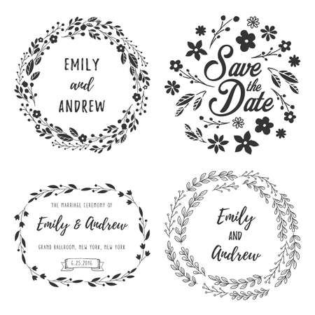 wreath set: Wreath Set - Rustic Wreath elements for your text