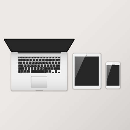 electronic devices: Laptop Computer, Tablet & Smartphone with Black Screens - Set of electronic devices with black, shiny screens seen from above. Illustration