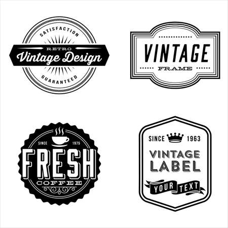 Vintage Label Designs - Set of vintage labels and design elements. Each design is grouped for easy editing. Stock Vector - 57877981