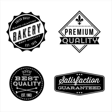 Diseños de etiquetas Vintage - conjunto de etiquetas de época y elementos de diseño. Cada diseño se agrupan para facilitar la edición. Ilustración de vector