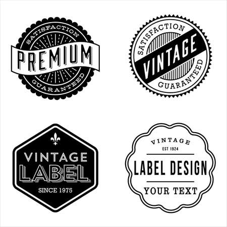 dingbat: Vintage Label Designs - Set of vintage labels and design elements. Each design is grouped for easy editing.
