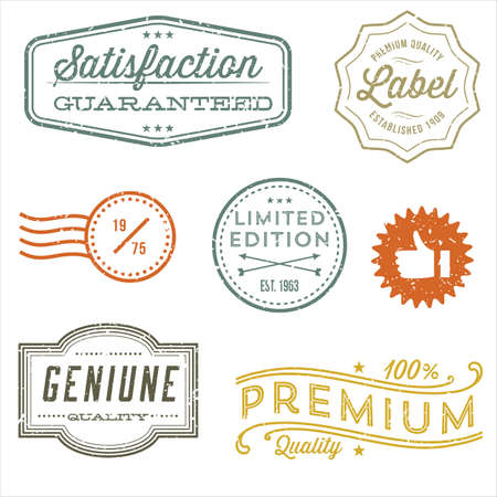 dingbat: Vintage Stamp Designs - Set of vintage stamps and label designs. Each element is grouped and colors are global for easy editing.  Texture can be removed.