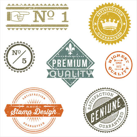 Vintage Stamp Designs - Set of vintage stamps and label designs. Each element is grouped and colors are global for easy editing.  Texture can be removed.