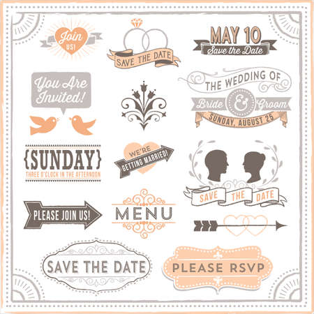 dingbat: Vintage Wedding Elements - Set of vintage wedding design elements. Each design is grouped and colors are global for easy editing.