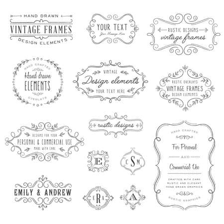 Rustic Frames Set - Rustic vintage frames and monograms set