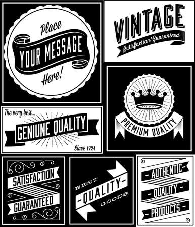 Retro Banner Designs - Set of vintage banners and labels.  Colors are global and designs are grouped for easy editing. Иллюстрация
