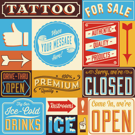Retro Signs and Frames - Set of vintage labels and signs.  Colors are global for easy editing.