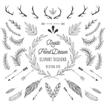 Rustic Designs - Rustic designs bundle: Feathers, arrows, florals and antlers.
