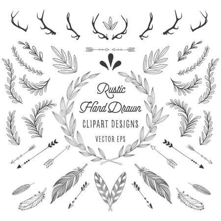 Rustic Designs - Rustiek designs bundel: Veren, pijlen, bloemen en geweien.