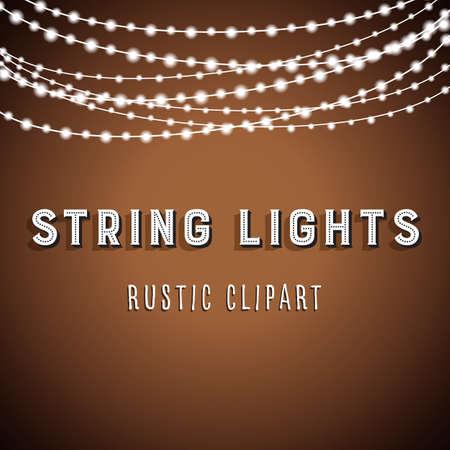 string of lights: Rustic String Lights Background - Rustic String Lights Vector Clipart 10