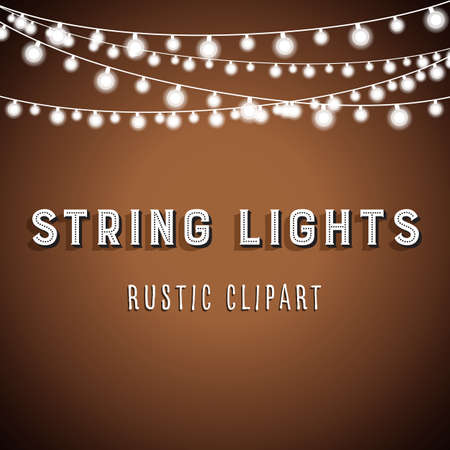 Rustic String Lights Background - Rustic String Lights Vector Clipart 10 Stok Fotoğraf - 64751674