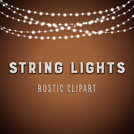 string lights: Rustic String Lights Background - Rustic String Lights Vector Clipart 10
