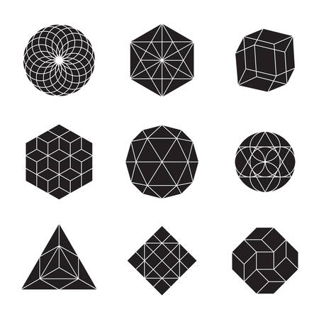 Geometric shapes - set of 9 minimal designs