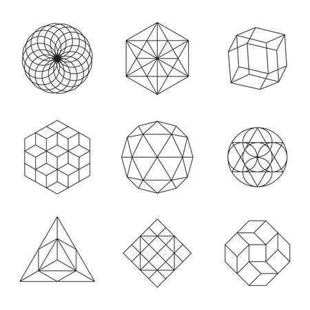 Geometric shapes - set of 9 minimal designs