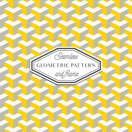 기하학 패턴 - 기하학적 인 연속 패턴과 빈티지 프레임 일러스트