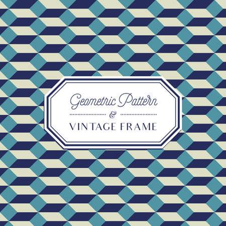 Geometric Pattern - Geometric Seamless Pattern and Vintage Frame 일러스트