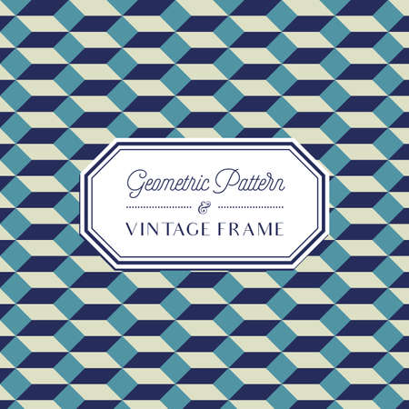 Geometric Pattern - Geometric Seamless Pattern and Vintage Frame Ilustração