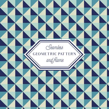 Geometric Pattern - Geometric Seamless Pattern and Vintage Frame  イラスト・ベクター素材