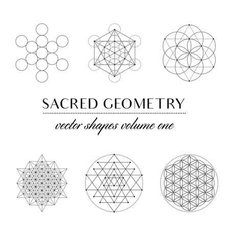 神聖幾何学アートの神聖な幾何学ボリューム ・ セット。幾何学的なベクトル アート