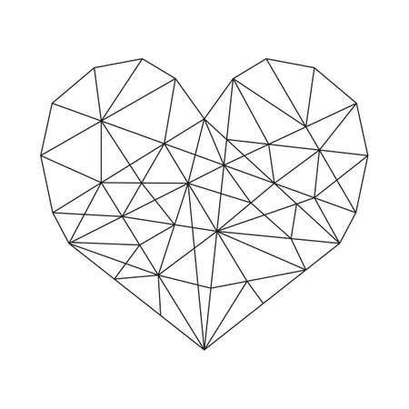 Geometric Heart - Geometric heart vector minimal wireframe