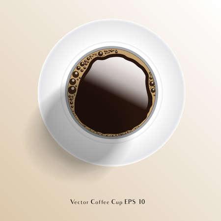 A Vector Coffee Cup - Tasse de café vectorielle réaliste vue de dessus. EPS 10 avec transparence. Banque d'images - 77372579