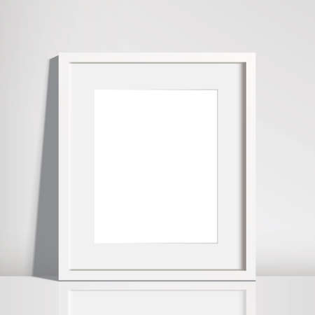 Realistic Empty White Picture Frame Mockup - 8x10 inch picture frame in portrait format.
