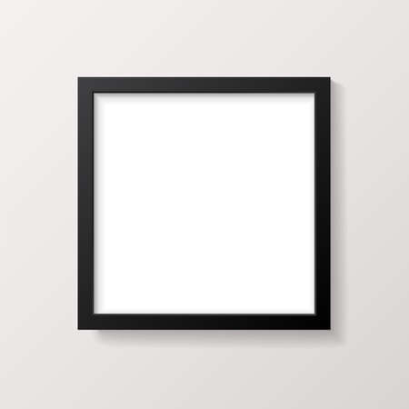 Realistic Empty Black Square Picture Frame Mockup - Realistic empty black square picture frame, isolated on a neutral off-white background. EPS10 file with transparency. Illustration