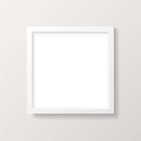 Realistic Empty White Square Picture Frame Mockup - Realistic ...