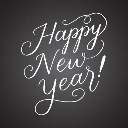 Chalkboard Happy New Year Hand-lettered holiday message isolated on a dark grey chalkboard style. Ilustração