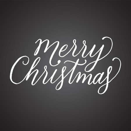 Chalkboard Merry Christmas Hand Lettering vector illustration Ilustração