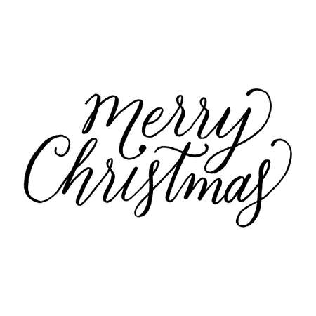 Merry Christmas hand lettering. Holiday message on white background.