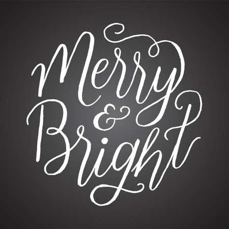 黒板メリーとブライト - 暗い灰色の黒板スタイルの背景に隔離された手書きの休日のメッセージ