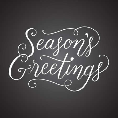 Chalkboard Season's Greetings Hand-lettered holiday message isolated on a dark grey chalkboard style background Ilustração